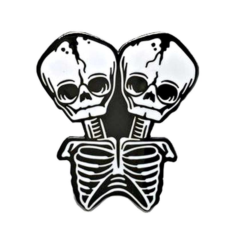Comune di scheletro spilla costole cranio di morte pin nero gotico accessorio di arte del regalo di Halloween