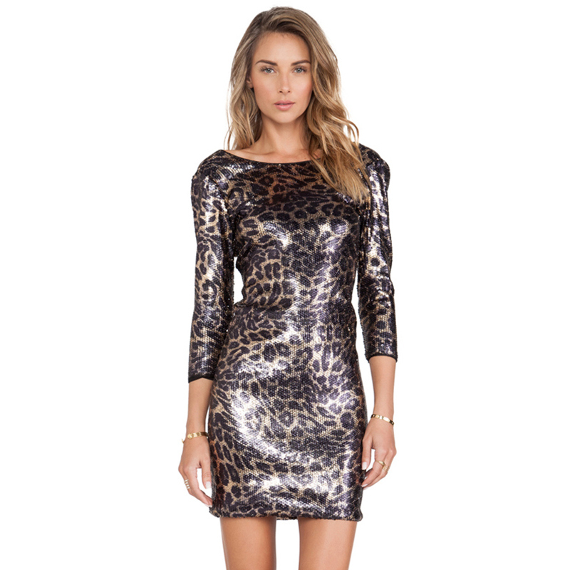 Popular Leopard Sequin Dress-Buy Cheap Leopard Sequin Dress lots ...