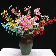 11pcs Silk Dancing Orchid Flower Artificial Oncidium Branches for Wedding Decoration Decorative Flowers