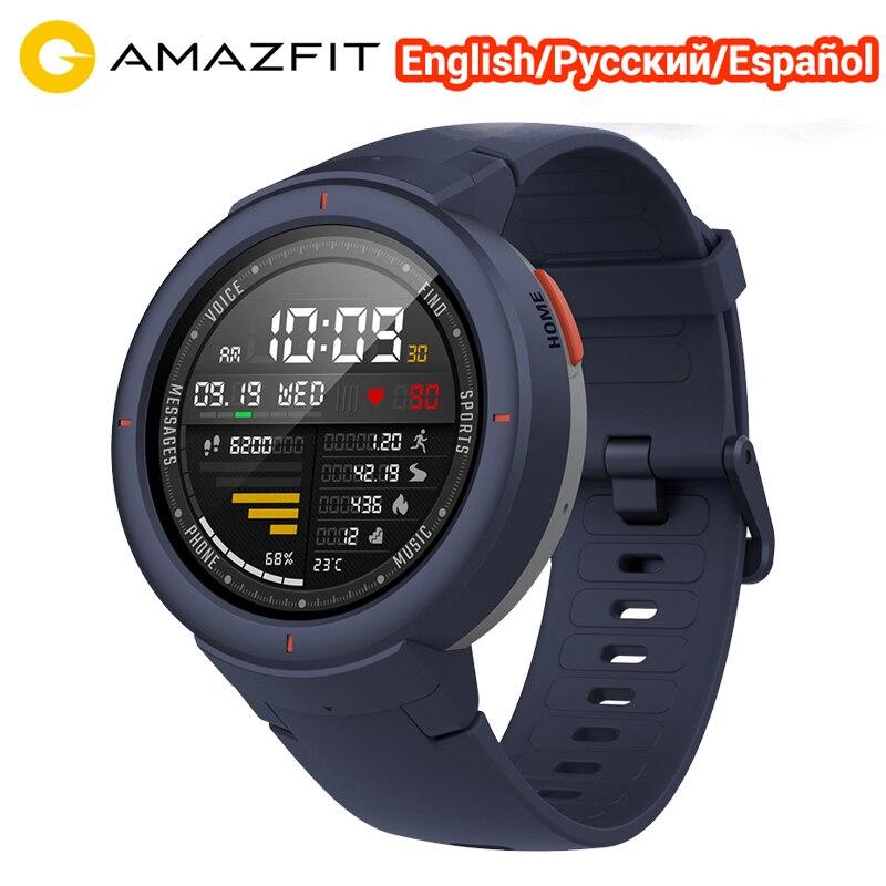 English Spanish Russian Amazfit Verge Smart Sport Watch 1 3 AMOLED Screen Watch IP68 Microphone Speaker
