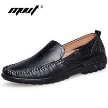 MVVT Brand Light Weight Men's Loafers Genuine Leather Casual Shoes Men Plus Size Men Flats Driving shoes