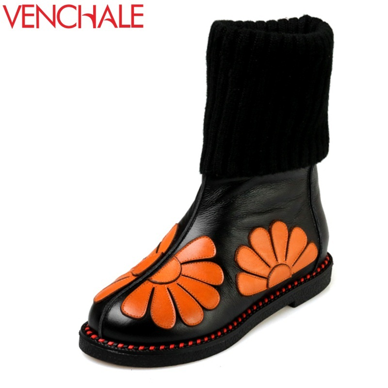 VENCHALE snow boots woman real genuine leather round toe low heel flower mid calf boots warm comfortable fashion boots 34-43 CN memunia fashion women boots round toe genuine leather boots zipper square heel wool keep warm cow leather mid calf boots