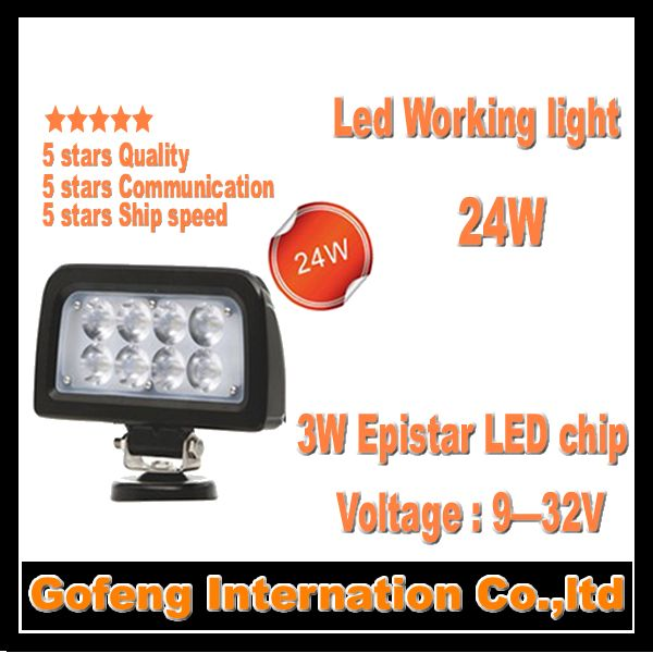 1PCS/LOT new arrival DC10-30V IP67 24w led work light spot Beam working Offroad Truck epistar chip lamp free shipping