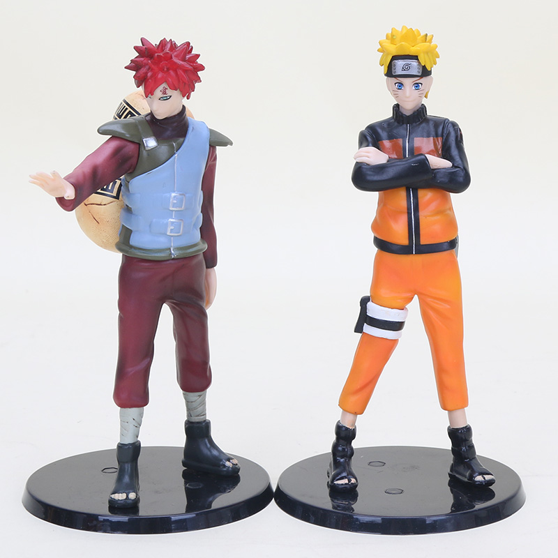 2pcsset Naruto 15cm Uzumaki Naruto VS Gaara PVC Action Figures Collectible Model Toy Dolls Gifts