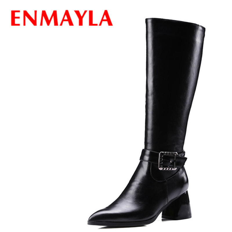 все цены на ENMAYLA Big Buckle Knight Boots Women Black High Heels Pointed Toe Kneed High Boots Winter Ladies Shoes Woman Motorcycle Boots в интернете