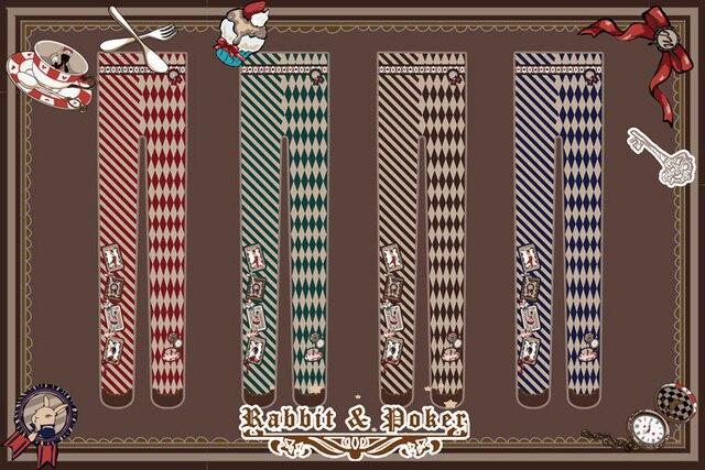 Princess sweet lolita pantyhose for height 150-168cm Diamond cartoon cute rabbit poker pantyhose LKW35