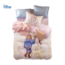 Disney Beauty and Beast Bedding Set Queen Size Girls Couple Bedroom Decor Egyptian Cotton Comforter Duvet Covers Twin Full Bed