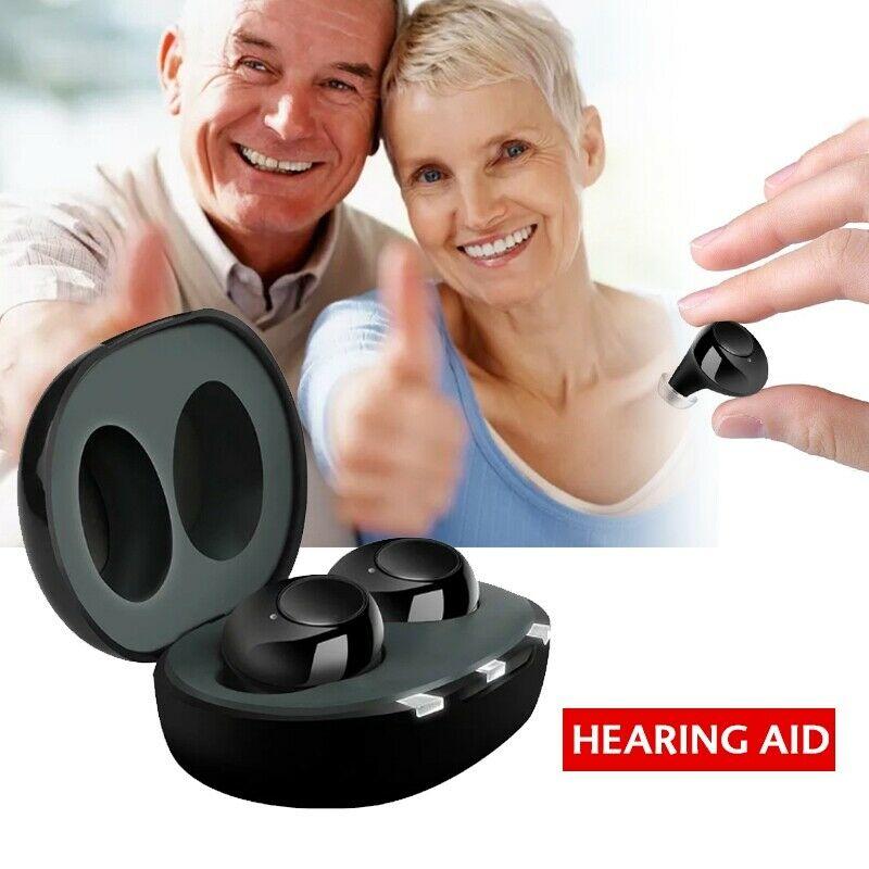 1 paire USB Rechargeable Mini dans l'oreille Portable Invisible aides auditives Assistant réglable ton amplificateur sonore pour personnes âgées sourdes