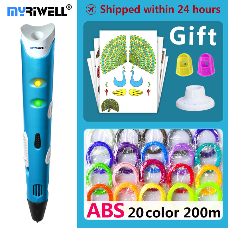 myriwell 3d pen 3d pens,Kids birthday present Christmas present 1.75mm ABS/PLA Filament, 3d model,3d printer pen-3d magic pen, myriwell magic 3d printer pen 1 75mm abs pla pcl 100m 200m filaments 3d pen kids intelligence education gifts 3d doodle pen