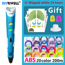 hot deal buy myriwell 3d pen 3d pens,kids birthday present  christmas present 1.75mm abs/pla filament, 3d model,3d printer pen-3d magic pen,