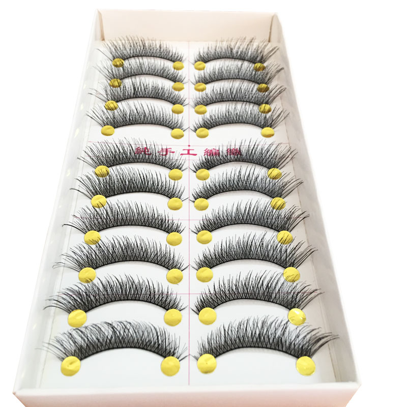 10pair Natural Long False Eyelashes for Building Faux Cils Thick Eye Lashes Handmade 3Dmink Eyelash Makeup Tools for Women