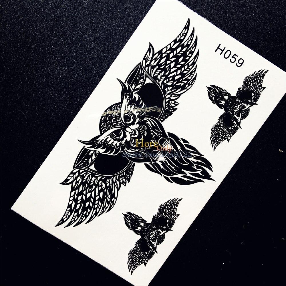 ᐅ1 Pc Cool Noir Vol Hibou Aile Autocollant De Tatouage Temporaire