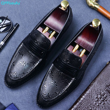 QYFCIOUFU Slip On Mens Formal Shoes Genuine Leather Men Casual Dress Shoes Oxford For Men Dressing Wedding Business Office Shoes