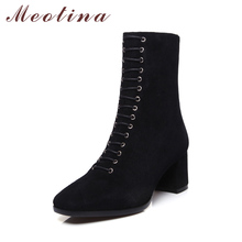 Meotina Genuine Leather Women Ankle Boots Suede Leather High Heels Zipper Shoes Square Toe Winter Boots Sexy Autumn Botas Women