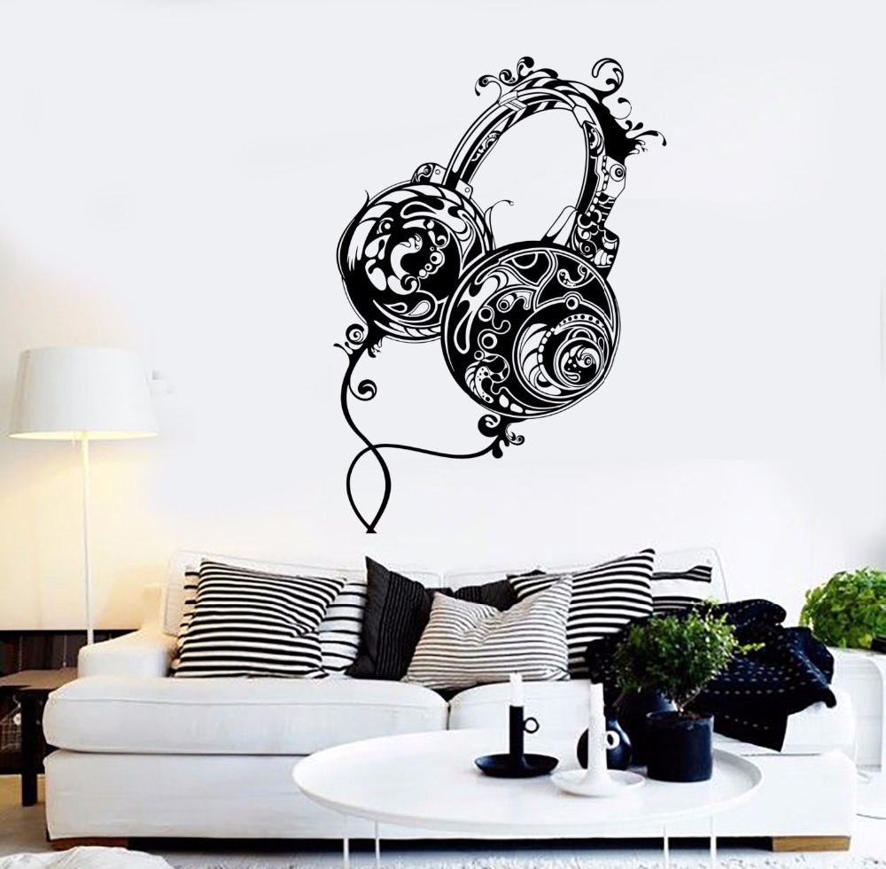 Art Wall Sticker Rock Pop Song Wall Decoration Music Headphone Decor Removeable Poster Guaranteed Mural Beauty Sticker LY77 image