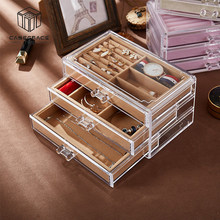 Casegrace Acrylic Makeup Organizer Cosmetic Organizer Makeup Storage Box Ring Stud Earrings Necklace Jewelry Case Storage Box(China)