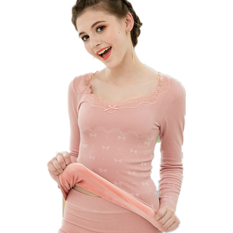 Sweety Pink Lace Underwear For Women Winter Pajamas Velvet Thick Thermal Clothes Elegant Black Female Warm Suit V-neck Long John