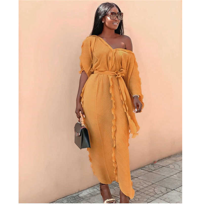Length152 センチメートル新スタイルの古典的なアフリカの女性のドレス Dashiki ファッションフリルフラウンスウェディングドレスルーズ v ネックミドルスリーブドレス送料サイズ