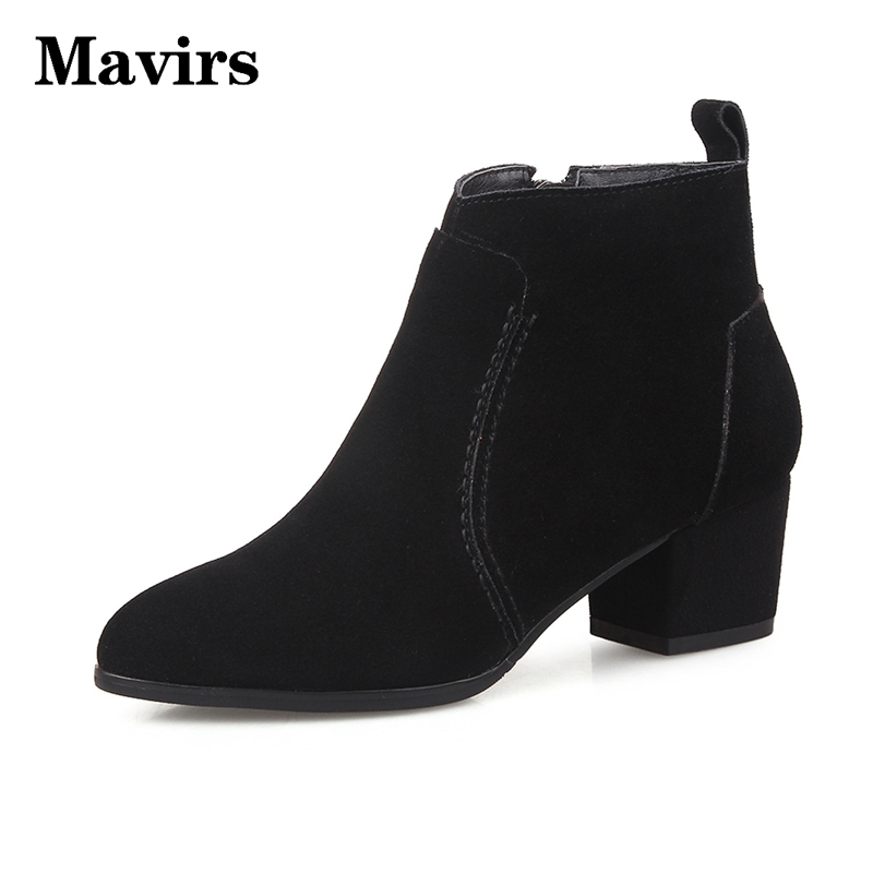 ФОТО Mavirs Women Ankle boots Genuine Leather Fashion boots Pointed toe Zip Suede Mid Thick heels Rubber Motorcycle Boots Women Heels