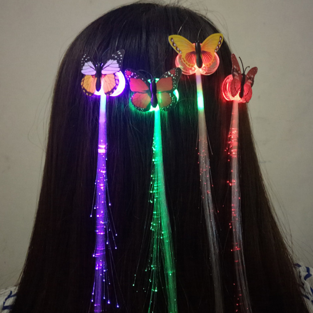 Party Random Colors LED Shining Glow Hair Braids Flash LED Fiber Hairpin Clip Light Up Headband Party Glow Accessories