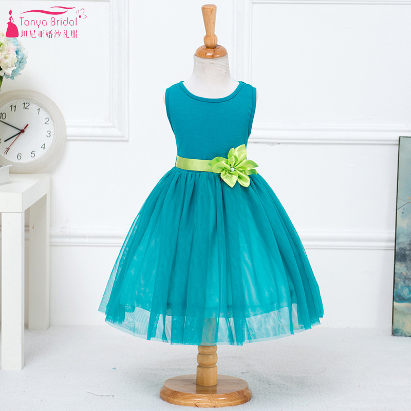 Turquoise A Line Tulle   Flower     Girls     Dresses   With Green ribbon Kids Pagent Gowns 2018 In Stock Cheap Formal   Dress   ZF044
