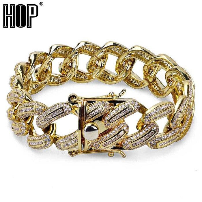 Hip Hop Bling glacé fermoirs plein 3A pavé strass hommes Bracelet or argent cuivre Miami cubain Bracelets pour hommes bijoux