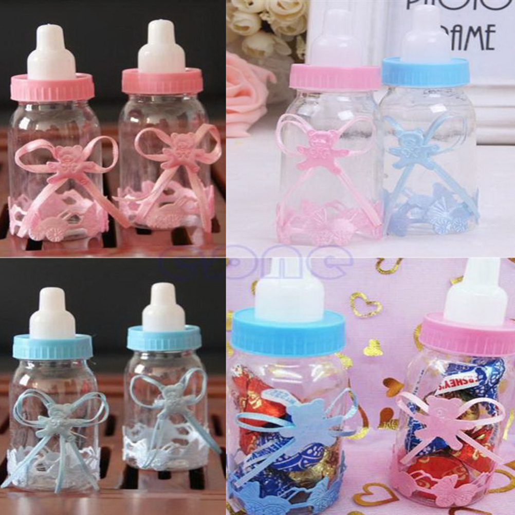 12Pcs Cute Baby Shower Gift Box Blue Boy Pink Girl Baptism Birthday Party Favors Gift Favors Candy Box Bottle Wholesale