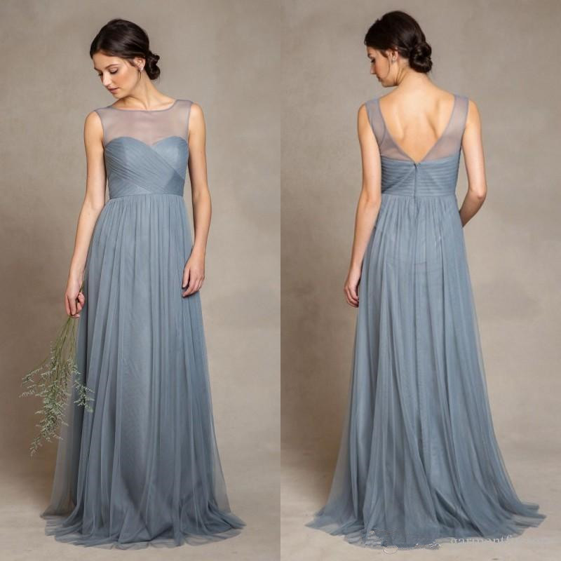 2019 Tull Elegant Dusty Blue Tulle   Bridesmaid     Dresses   Illusion Bateau Neckline Pleats Bodice A Line Floor Length