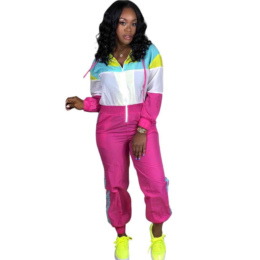 Color Block Patchwork Jumpsuit Women Casual Long Sleeve Zipper With Cap Women Jumpsuit Fluorescent Sport Female Bodycon Overalls