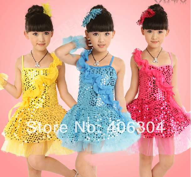 Free shipping .hot pink blue yellow Children latin dress with falbala,Girl's sequin dresses wrist flower,wedding party costume