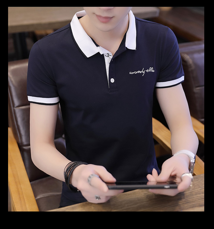 2019 men splicing t-shirts with short sleeves Comfortable in summer youth leisure lapel t-shirts 17
