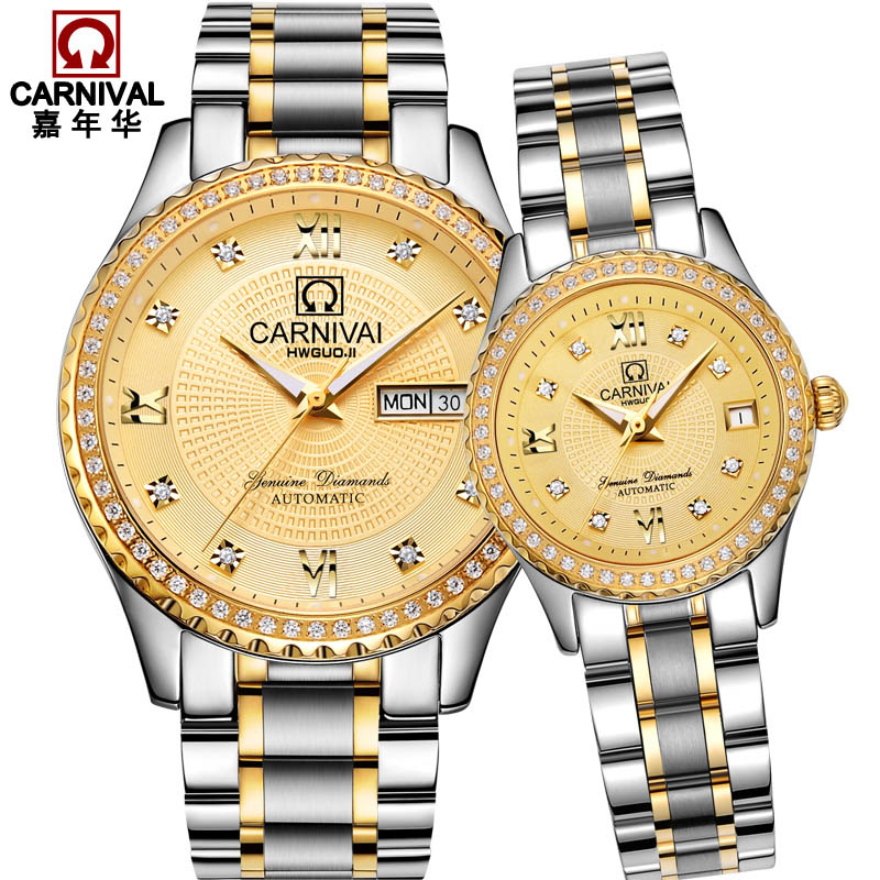 Luxury Couple watch for lovers CARNIVAL High end Automatic Watch couple Calendar Sapphire Luminous Best gift for Valentine's day