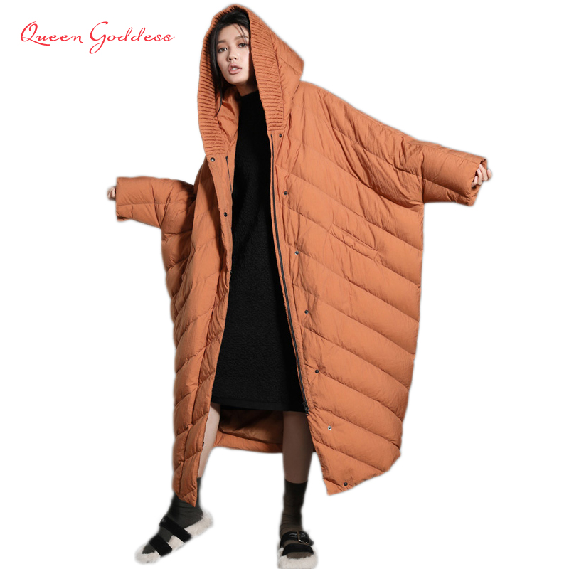 Winter COCOON Coat Bat Sleeved Fashion Style Loose And Causal Trend Womens Super Long Super Plus Size Down Jacket Hood Parkas