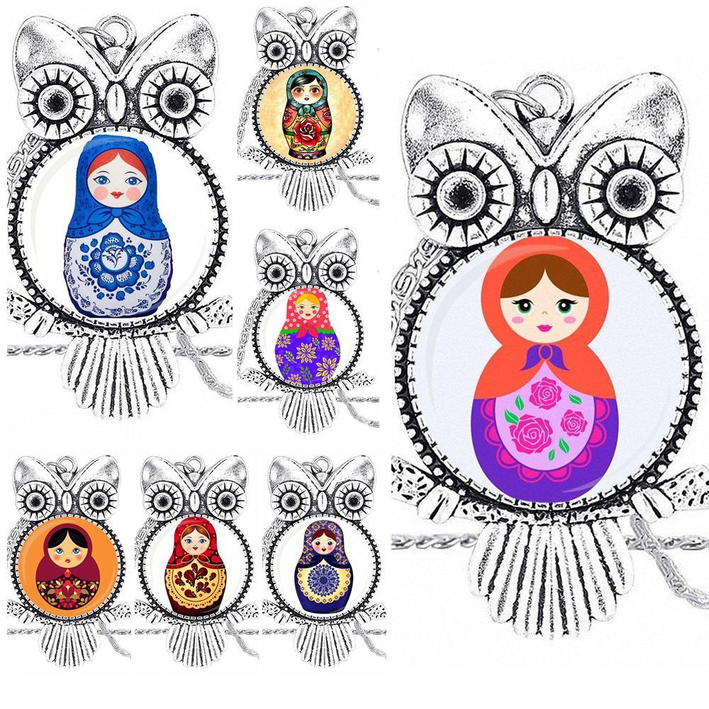 EJ Glaze Russian Dolls Glass Cabochon Pendant Necklace Owl Fashion Necklace For Wedding