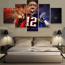 Framed Abstract Modern Home Decor Canvas 5 Panel Rugby Sport Player Print Painting Wall Art For Living Room Modular Picture