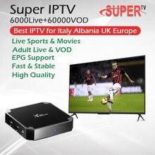 Супер iptv итальянский взрослый IP tv+ X96Mini Android tv Box Amlogic S905W четырехъядерный 1G/8G 2G/16G 2,4 GHz WiFi телеприставка Германия IPTV