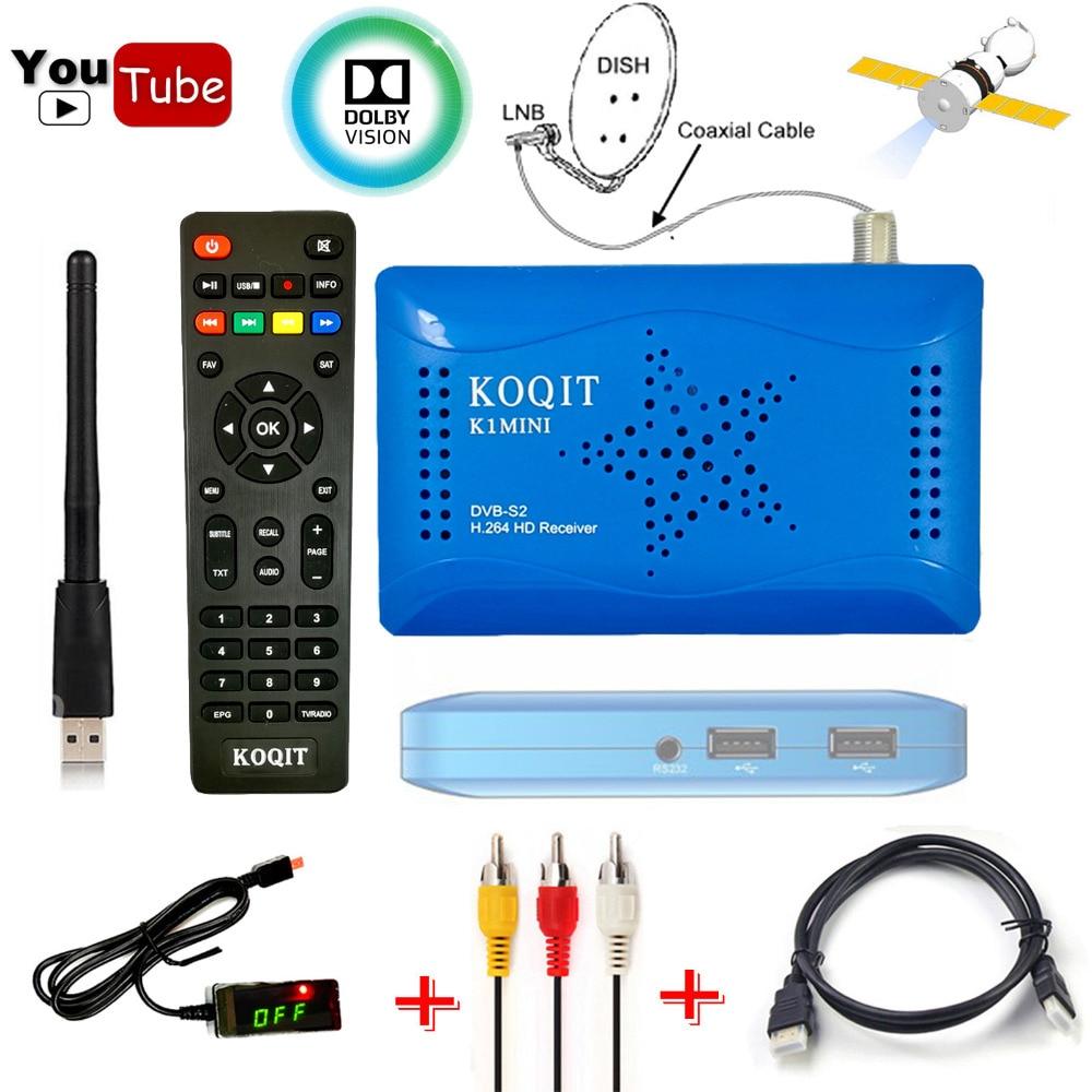 Koqit h.264 fta receptor sintonizador DVB-S2 caixa de tv digital dvb s2 receptor satélite hd cccam/biss cline scam decodificador usb wi-fi youtube