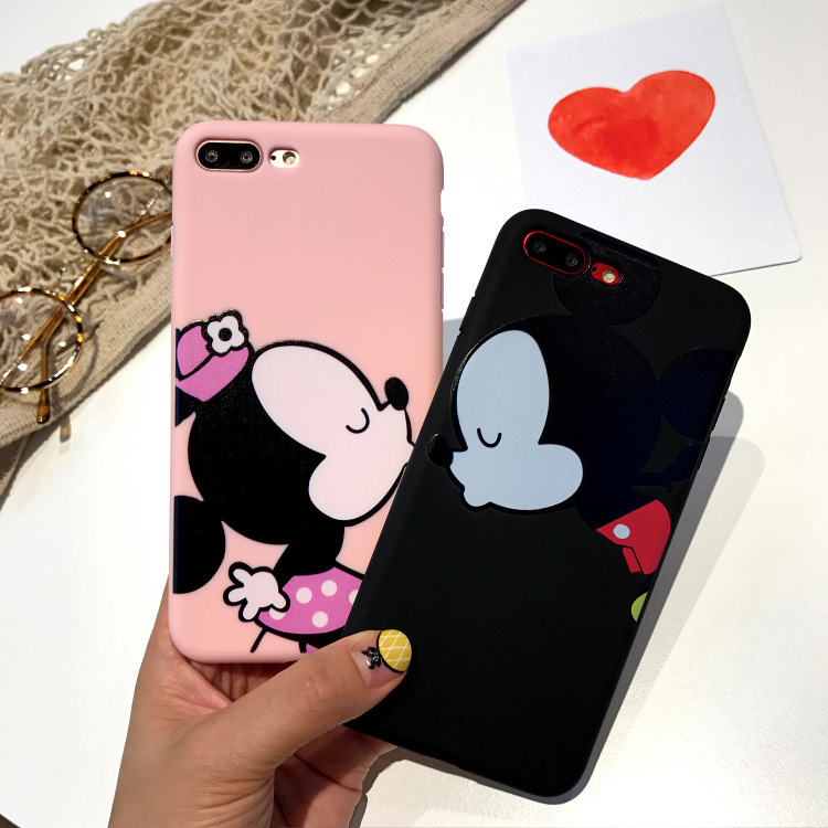 Cartton Lovers Mickey Mouse Minnie Case For iPhone 6 6S 7 8 Puls Luxury Silicone soft Cover For iPhone 6 6S 7 8 Coque Fundas