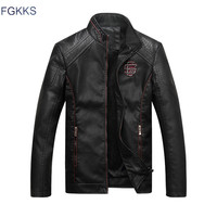 FGKKS 2017 Men Leather Jacket Fashion Autumn Motorcycle PU Leather Male Winter Jackets Outerwear Coats Faux