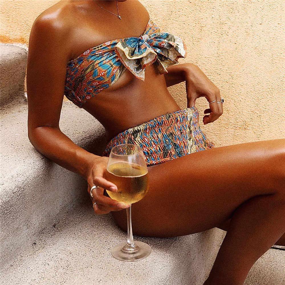 女性のセクシーなツーピース水着ファッションオレンジハイウエスト包帯ビキニセットプリントプリーツ弓ノット水着水着ビーチ