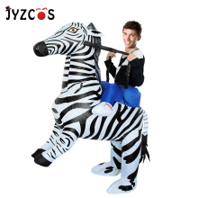 JYZCOS Adult Zebra Inflatable Costume Purim Halloween Costumes for Woman Man Animal Mascot Cosplay Clothing Carnival