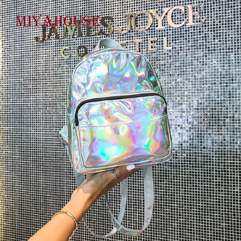 Miyahouse Laser Mini Backpacks Female Small Travel Rucksack For Women Fashion Rainbow Multicolor School Bags For Teenage Girl