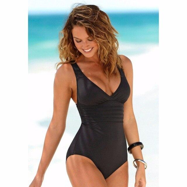 Vintage One Piece Swimsuit Women Swimwear Solid Monokini Retro Bodysuit Beach Wear Black Blue Bath Suit Striped Maillot De Bain 5