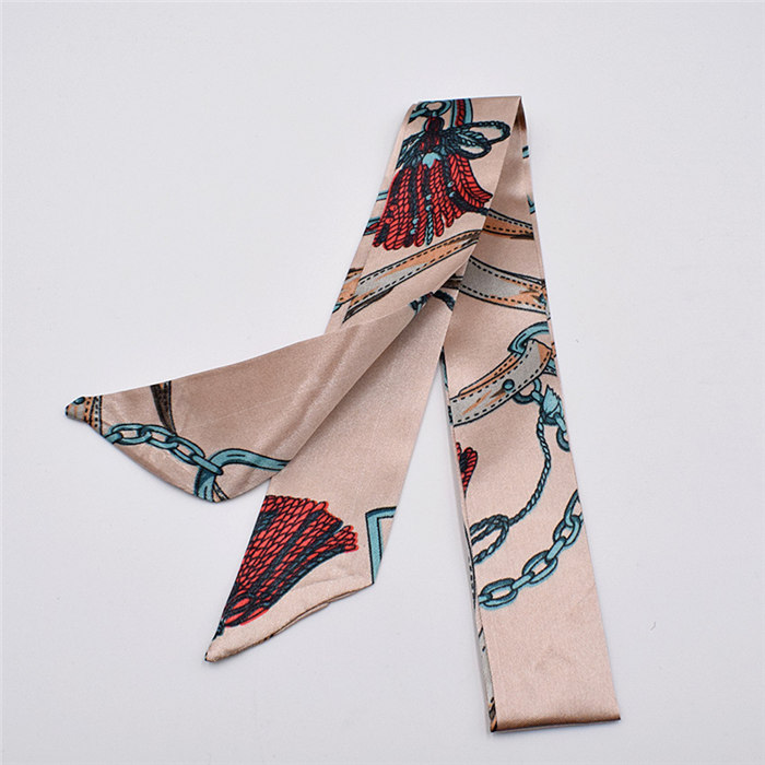 HTB1IM.VdlKw3KVjSZFOq6yrDVXam - Small Silk Scarf For Women New Print Handle Bag Ribbons Brand Fashion Head Scarf Small Long Skinny Scarves Wholesale