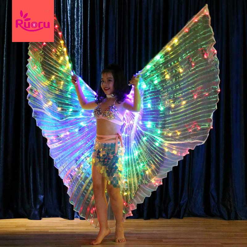 Ruoru Led-Wings Belly-Dance Stage-Performance-Props Kids Girls with Adjustable-Stick
