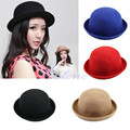 2016 Vintage Ladies Women Flanging Wool Cap Cute Trendy Solid Bowler Derby Hat