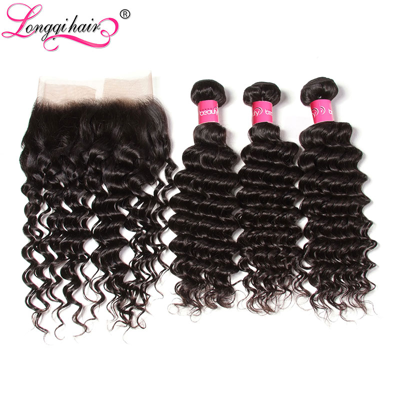 Longqi Hair Brazilian Deep Wave Bundles with Frontal 13x4 Ear to Ear Lace Frontal Remy Hair
