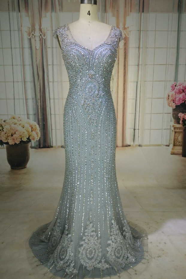 Luxury Grey V Neck Mermaid Evening Dresses  Sweep Train Beading Crystal Sparkly Evening Gown Robe De Soiree