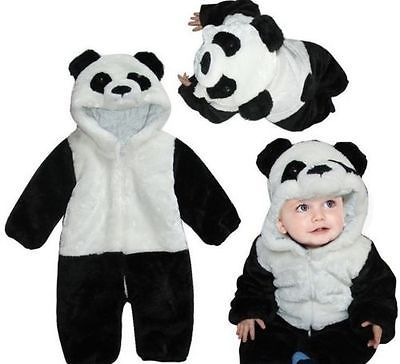 Baby Kid Toddler Newborn Boy Panda Animal Onesie Hooded Zipper Romper Jumpsuit Outfit Costume 0-3Y 3