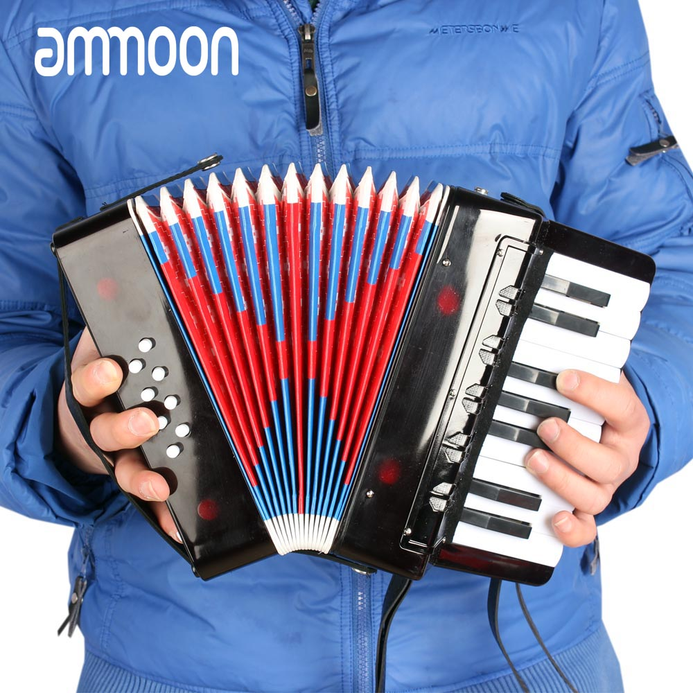 High Quality 17 Key 8 Bass Mini Small Accordion Educational Musical Instrument Rhythm Band Toy for
